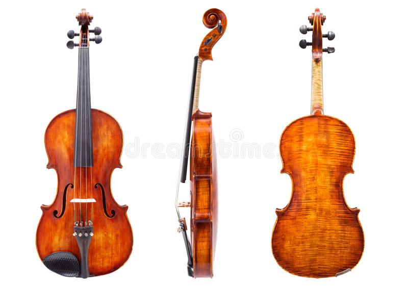 Front, side and back view of a violin royalty free stock photography