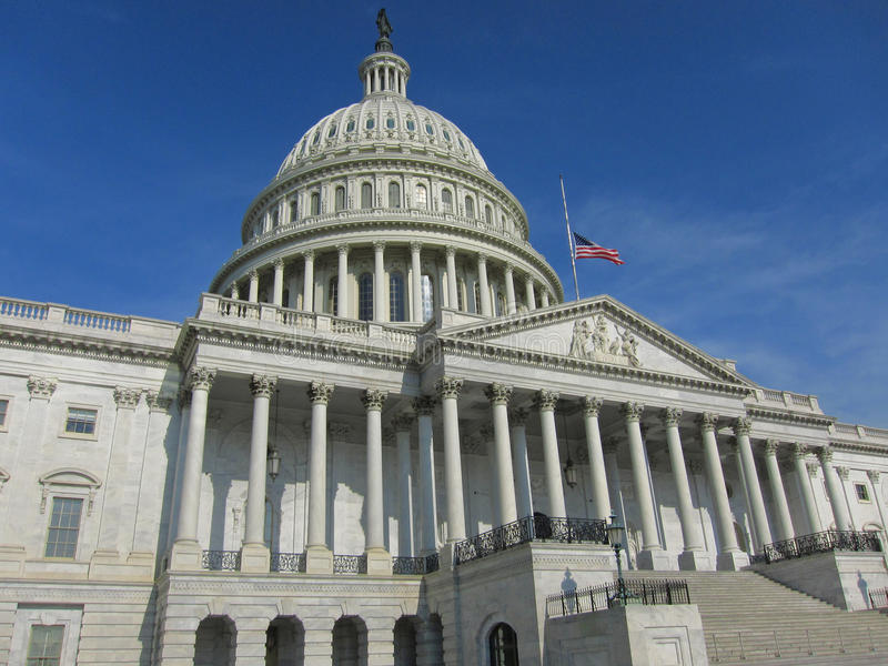 Front Side Of Capital Building In Washington DC royalty free stock photography