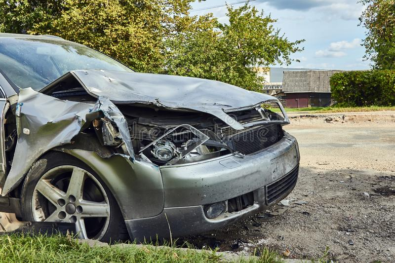 Front side of car after accident on a city road. Rezkene,Latvia, August 26, 2019: car after accident on a road because of frontal collision, transportation royalty free stock photos