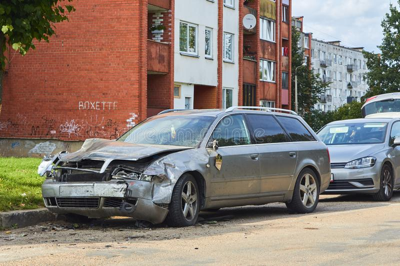 Front side of car after accident on a city road. Rezkene,Latvia, August 26, 2019: car after accident on a road because of frontal collision, transportation royalty free stock images