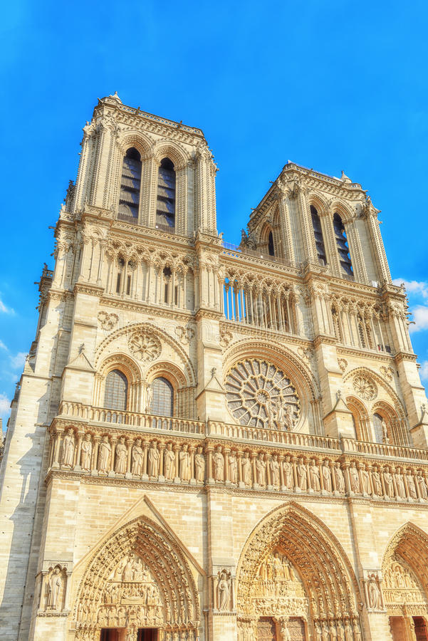 Front side of Notre Dame de Paris Cathedral, most beautiful Cathedral in Paris. stock photo