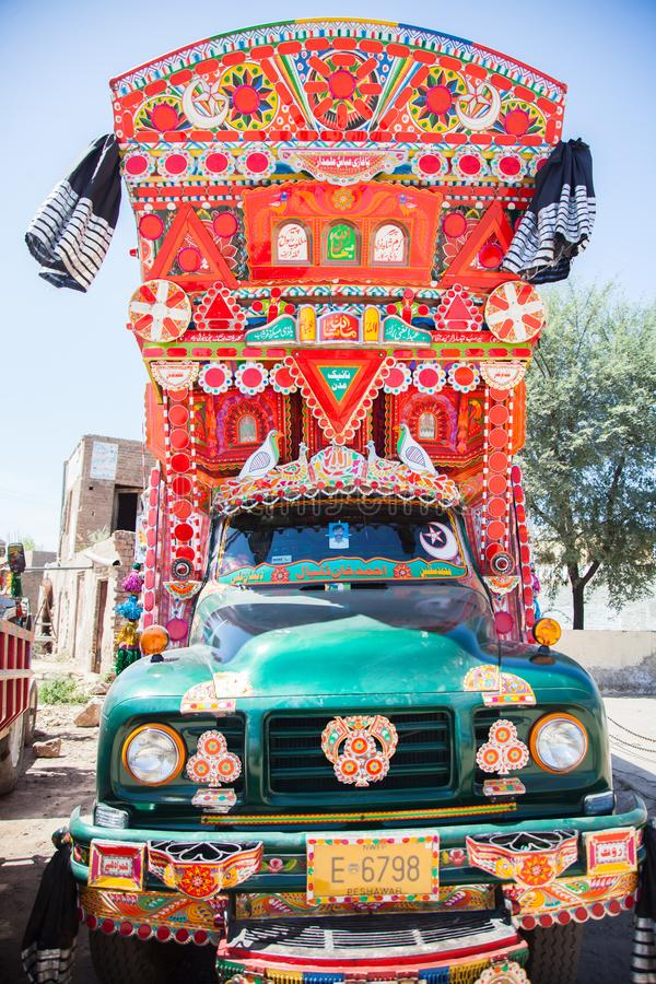Front side of a Pakistani decorated truck stock photo