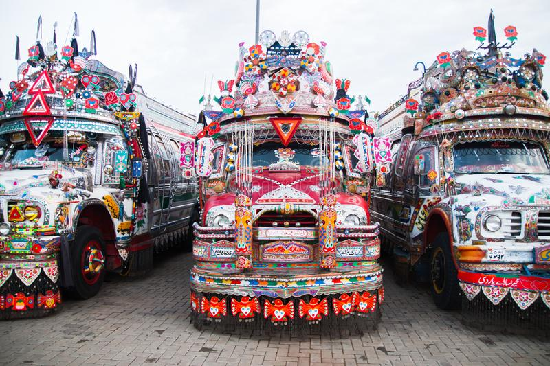 Front side of a Pakistani traditional bus stock photography