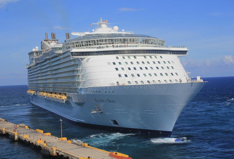 Allure of the Seas. Front side shot of the cruise ship Allure of the Seas. Owned and operated by Royal Caribbean International, As of 2018 this class is tthe stock photos