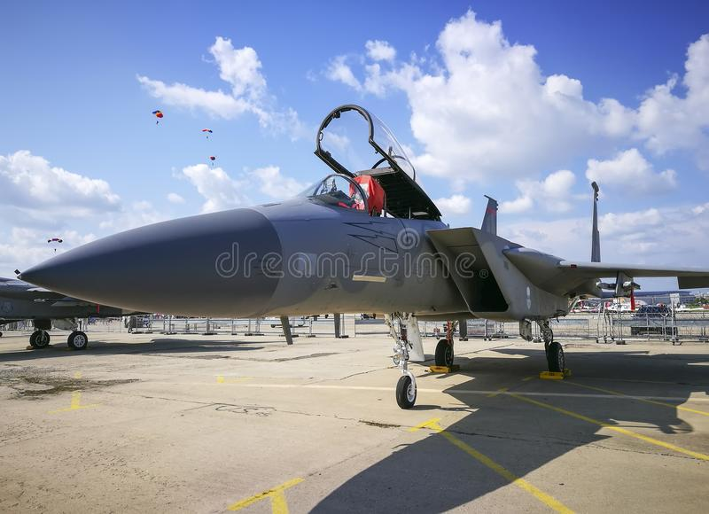 Fighter plane stationed at airshow royalty free stock image
