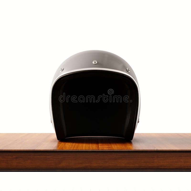 Front side view of gray color vintage style motorcycle helmet on natural wooden desk.Concept classic object white. Background.Square.3d rendering royalty free illustration