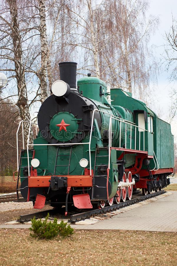 Free Front Side View Of Classic Old Green Soviet Steam Locomotive With Red Star Stock Photos - 132228763