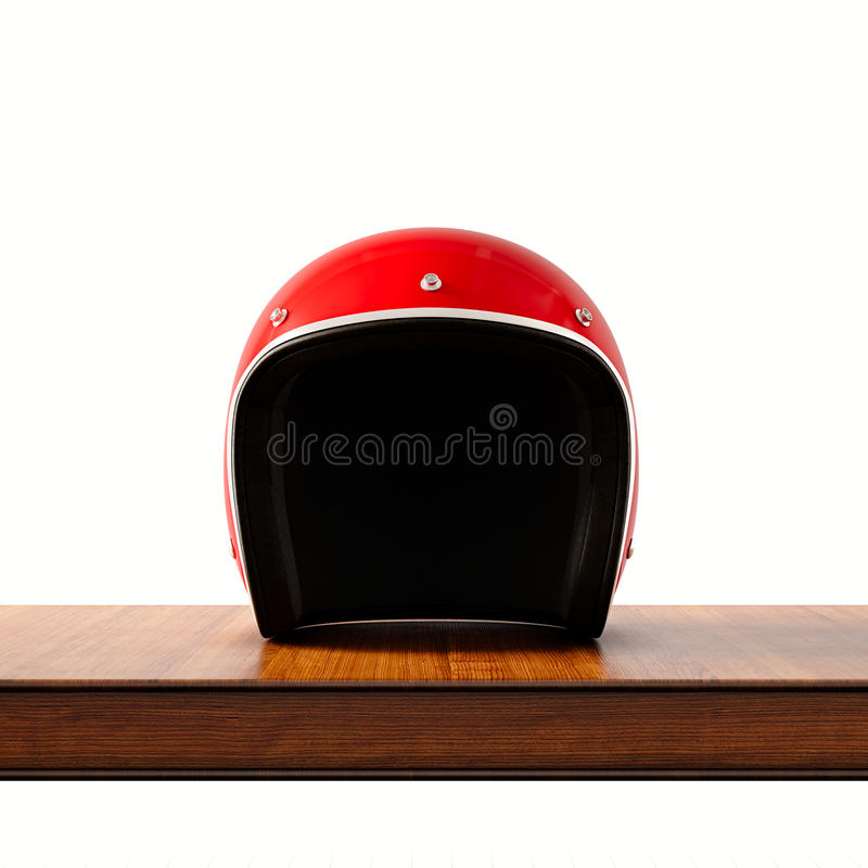 Front side view of red color vintage style motorcycle helmet on natural wooden desk.Concept classic object isolated. White background.Square.3d rendering vector illustration