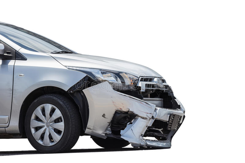 Front of silver car get damaged by crash accident on the road. I royalty free stock images