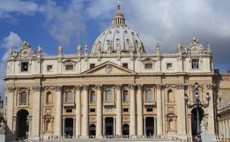 Front of St Peter's Basilica. In Rome,Italy royalty free stock photo