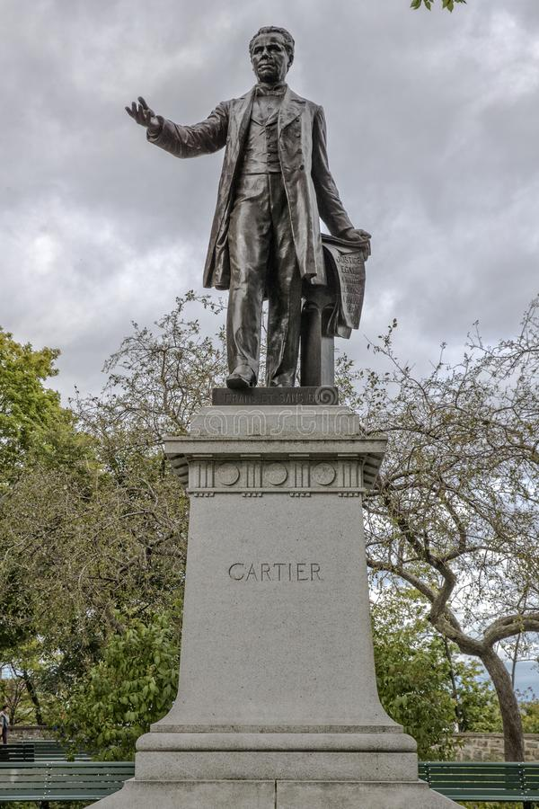 Front of Statue of Cartier in Quebec City Canada. With cloudy background royalty free stock photo