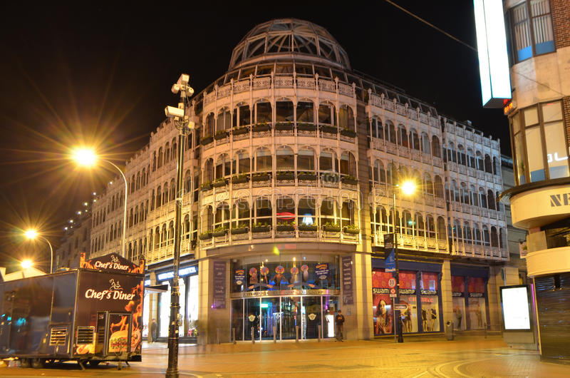 Front of Stephens Green Shopping Centre at Night in Dublin, Ireland stock image