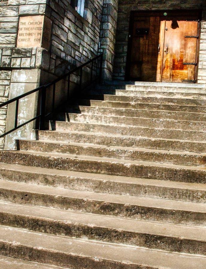 Front Steps do marco histórico, o estúdio da igreja, em Tulsa fotografia de stock