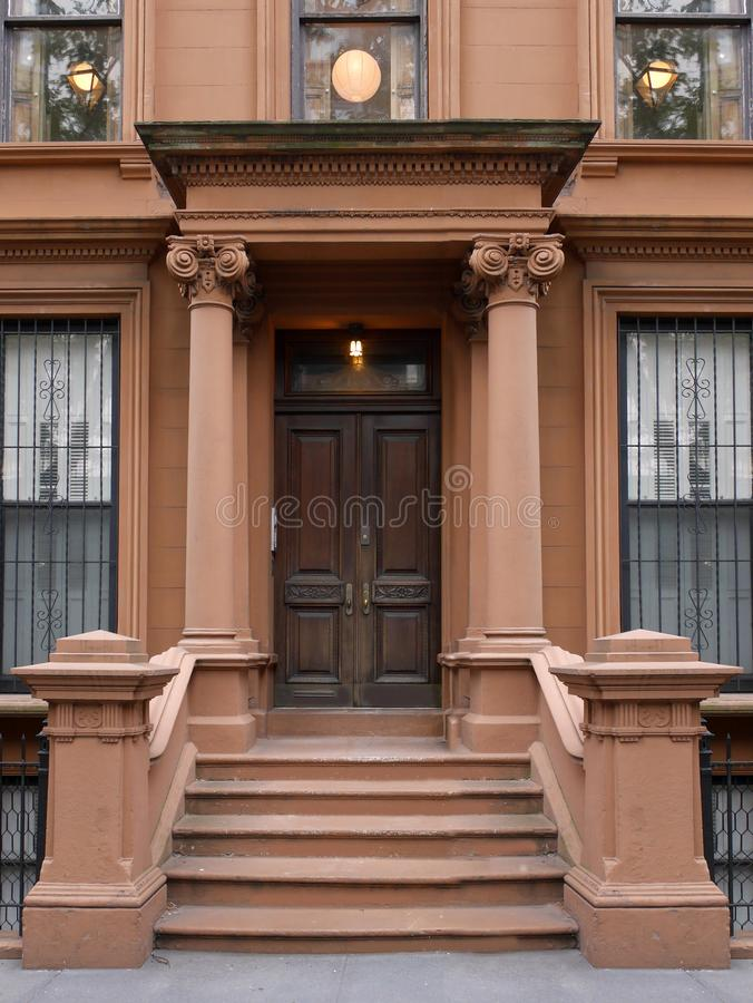New York brownstone style apartment building stock images
