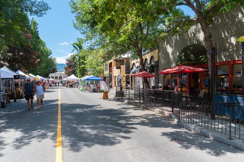 Front Street lined with vendors during the Penticton Community Market stock photos