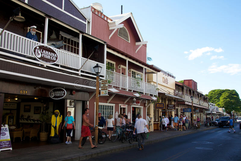 Front Street. People walking around Front Street in Lahaina, Maui, Hawaii