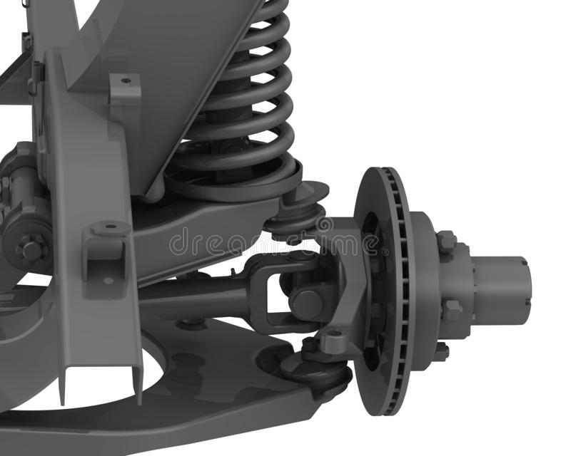 The front suspension of the car. Detail of the front suspension cross-country vehicle. Isolated. 3D Illustration stock illustration
