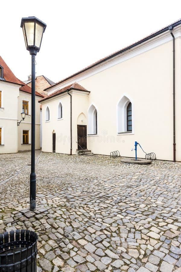 Front synagogue, Jewish Quarter, Trebic, Czech Republic stock photography