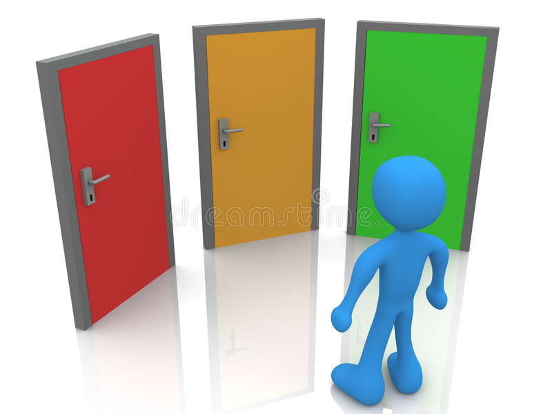 In Front Of Three Doors stock illustration