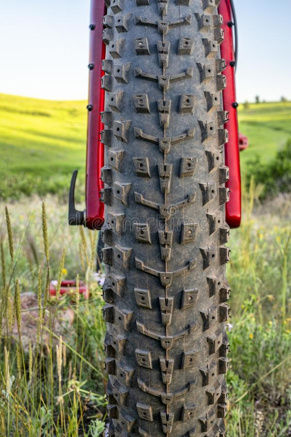 Front tire of a fat mountain bike. With green prairie in background royalty free stock photos