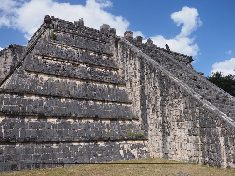Front of tomb of the High Priest pyramid at Chichen Itza mayan town at Mexico stock photography