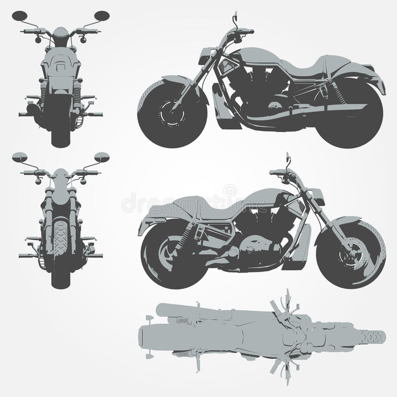 Front, top and side chopper projection vector illustration