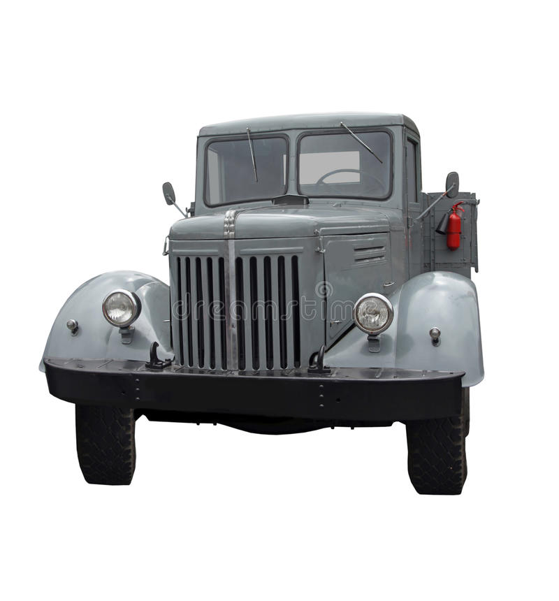 Front of Truck Grey. The antiquarian gray truck isolated on a white background stock images