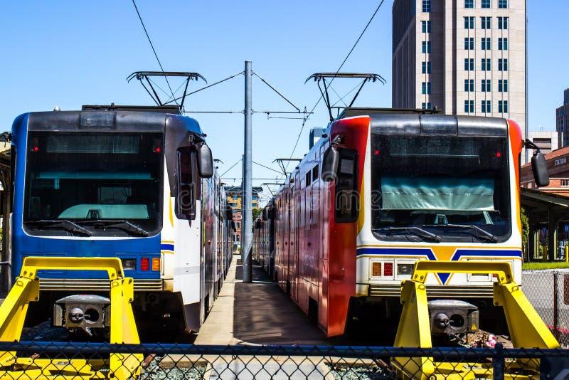 Front Of Two Commuter Trains foto de stock