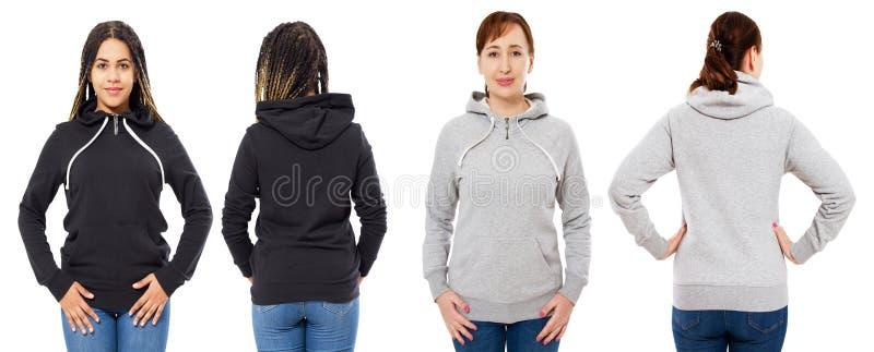 Front und hintere Ansicht - weibliche Mädchenfrau im grauen schwarzen Hoodie lokalisiert auf weißem Hintergrund lizenzfreie stockfotos