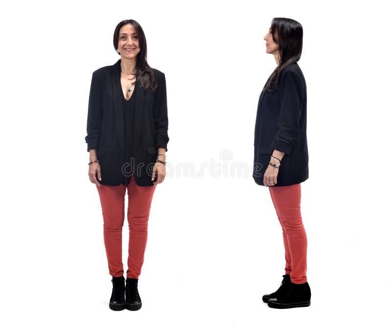 Front und Profil einer Frau auf weißem Hintergrund stockfotos