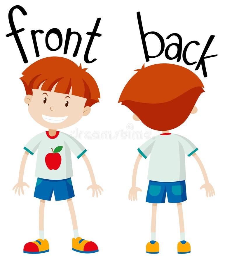 Front und Rückseite des kleinen Jungen lizenzfreie abbildung