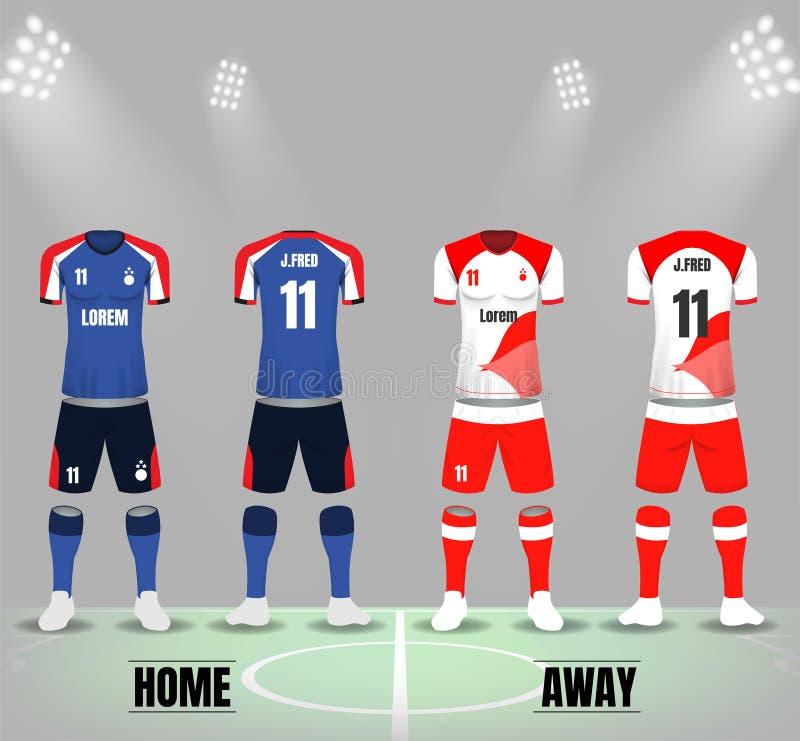 Front und Rückseite von Fußballuniformen in dunkelblauem und weißem rotem Col. vektor abbildung