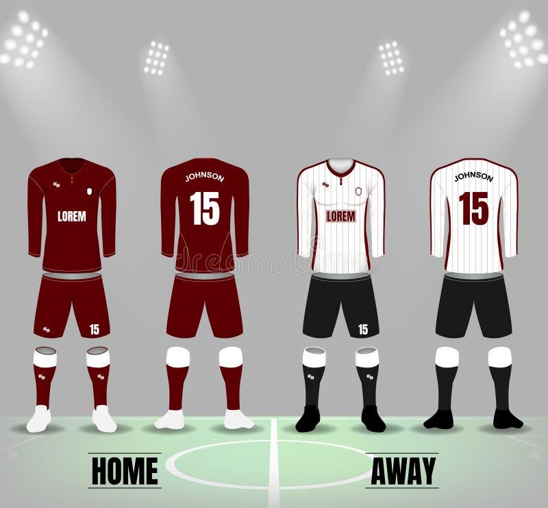 Front und Rückseite von Fußballuniformen in dunkelroten und weißen Farbewi lizenzfreie abbildung