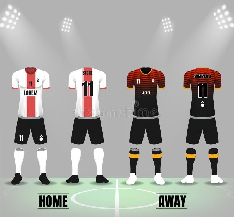 Front und Rückseite von Fußballuniformen im dunkelroten und weißen Farbe-te lizenzfreie abbildung
