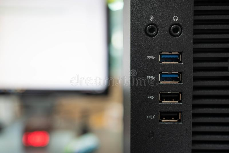 Front usb ports of desktop computer stock photography