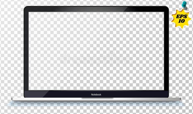 front uwagi na laptopie t?o bia?e izolacji Otwiera laptop z pustym ekranem odizolowywaj?cym na przejrzystym tle obrazy stock