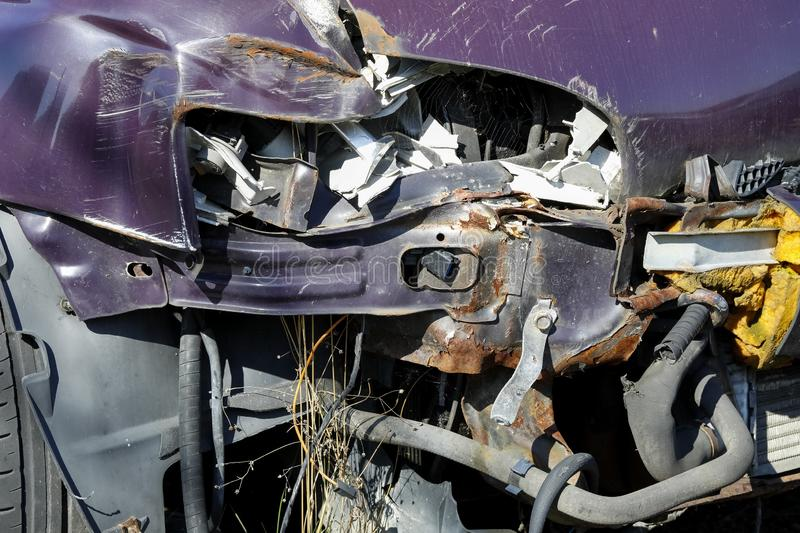 The front of this vehicle is heavily damaged. A serious road accident almost completely destroyed the front of this vehicle royalty free stock photography