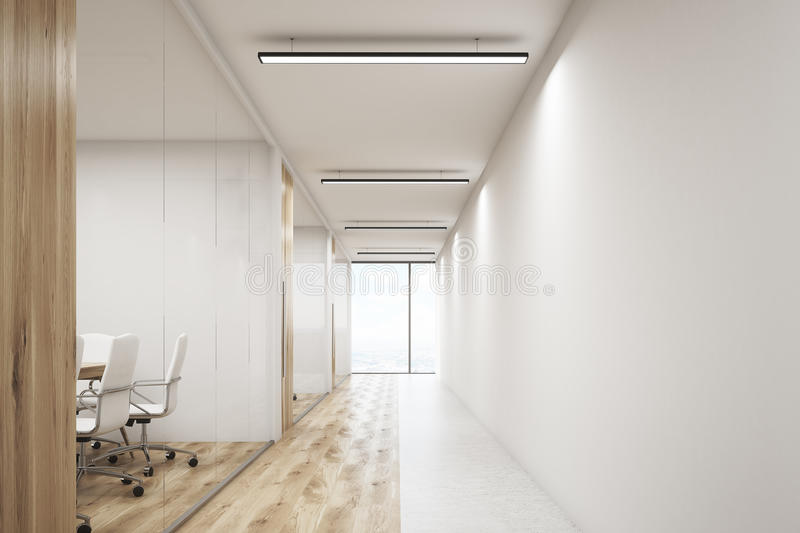 Front veiw of office with blank wall and row of meeting rooms. Front view of office corridor with large blank wall and row of conference rooms with wooden wall stock illustration