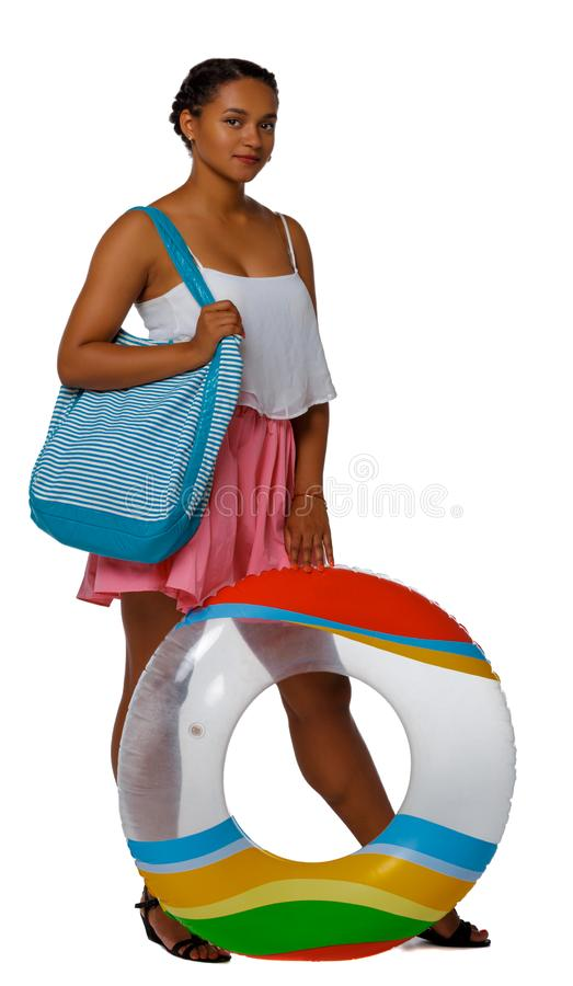 Front view of an African-American with an inflatable circle stock photos