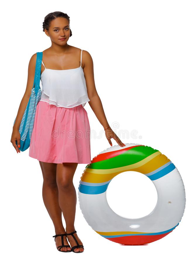 Front view of an African-American with an inflatable circle stock images
