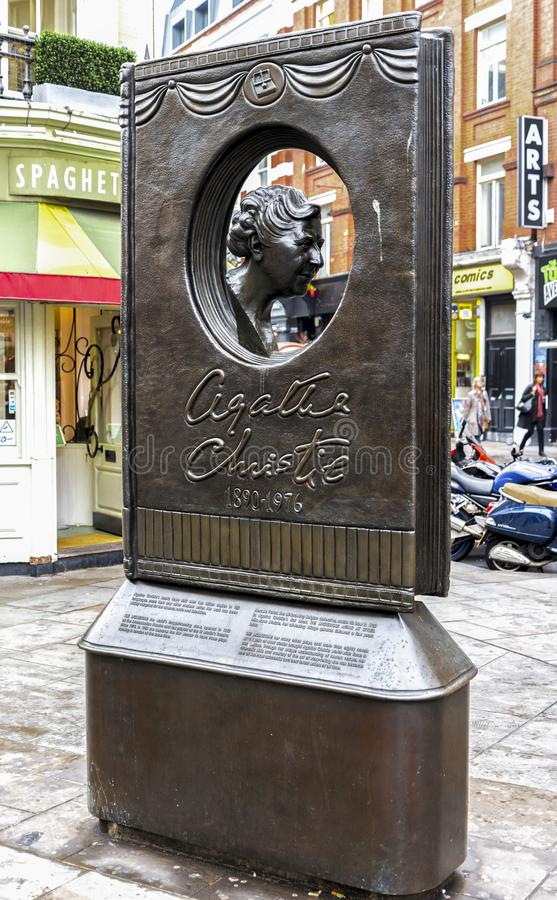 Front view of Agatha Christie memorial in London city centre, United Kingdom. October 2017 royalty free stock images