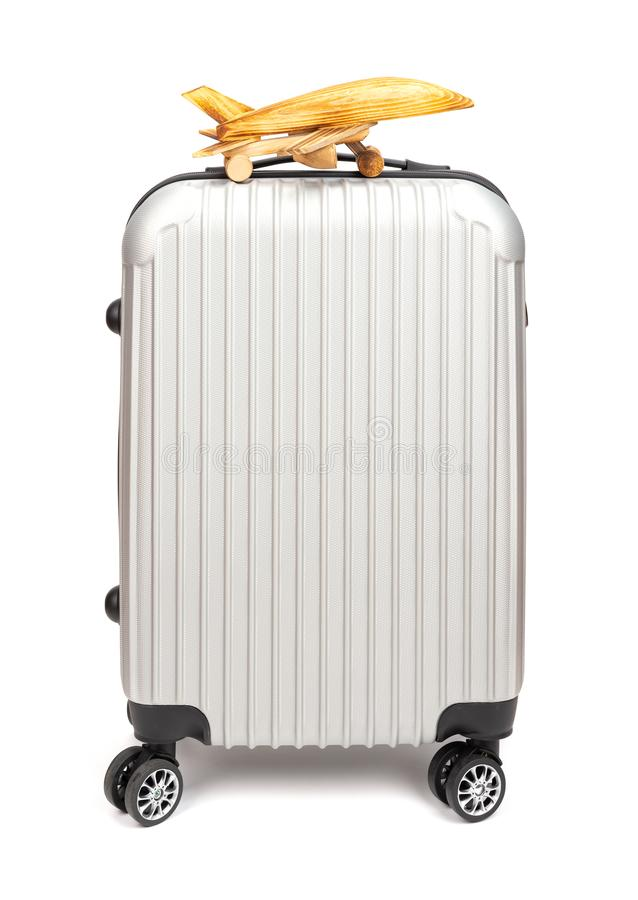 Front view airplane model on top of luggage royalty free stock photography