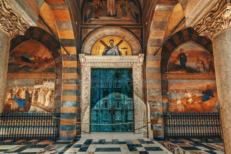 Front view of Amalfi cathedral facade royalty free stock image