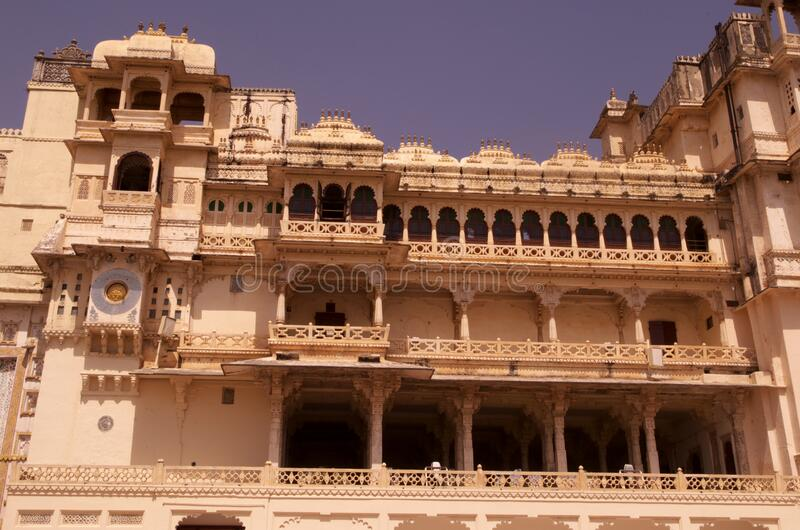 Royal palace of Udaipur front view stock image