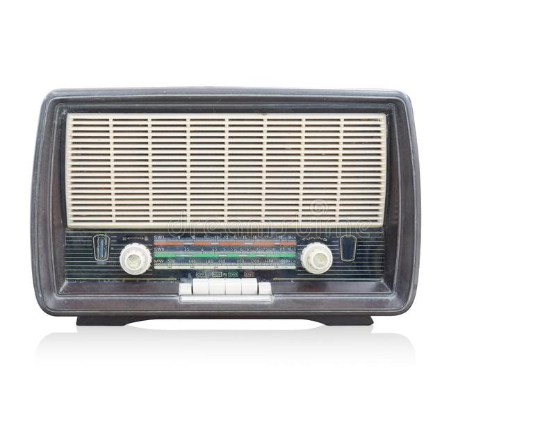 Front view antique black radio on white background, copy space royalty free stock photo
