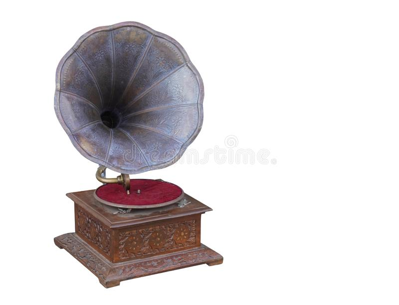 Front view antique brass and wooden gramaphone on white background,copy space royalty free stock photos