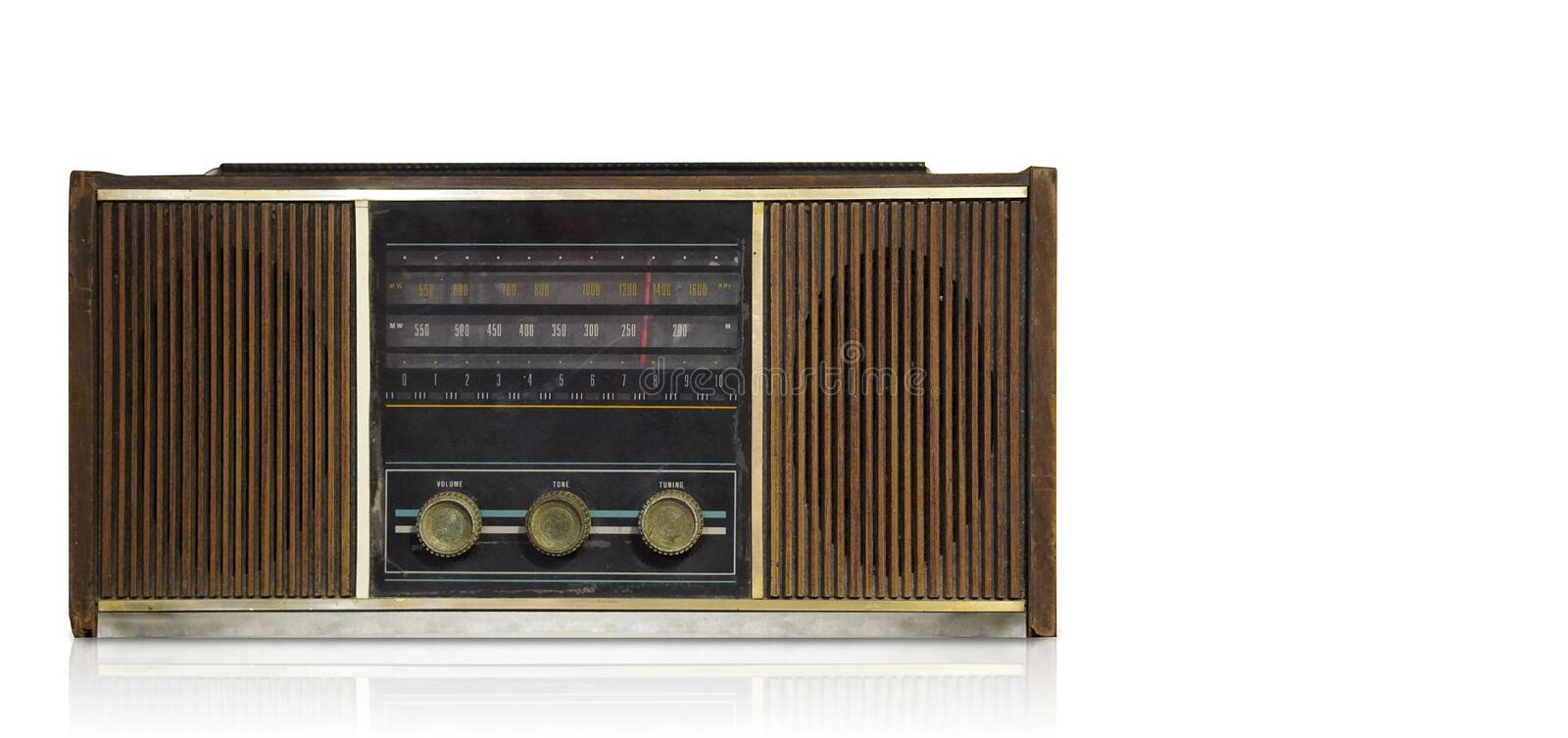 Front view antique brown radio on white background,technology background,copy space royalty free stock photography