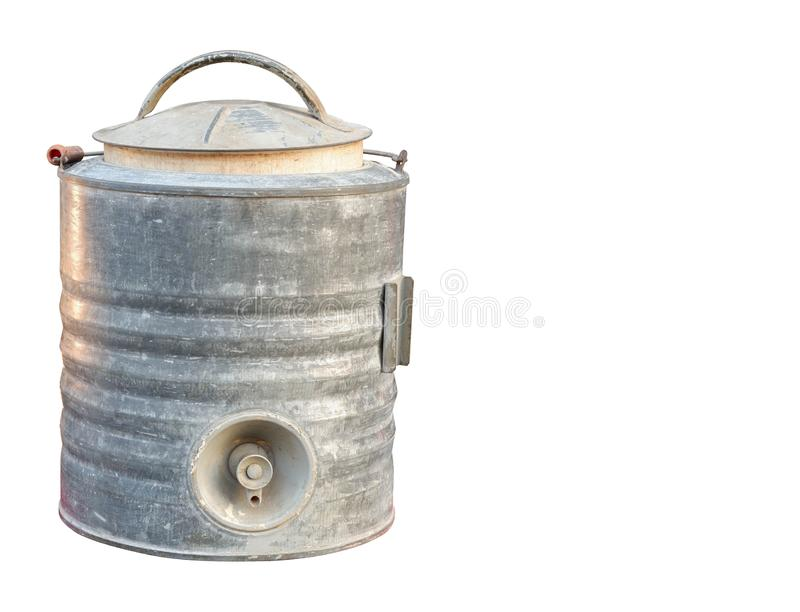 Front view antique zinc cooler water filter on white background, vintage, object, copy space royalty free stock photo