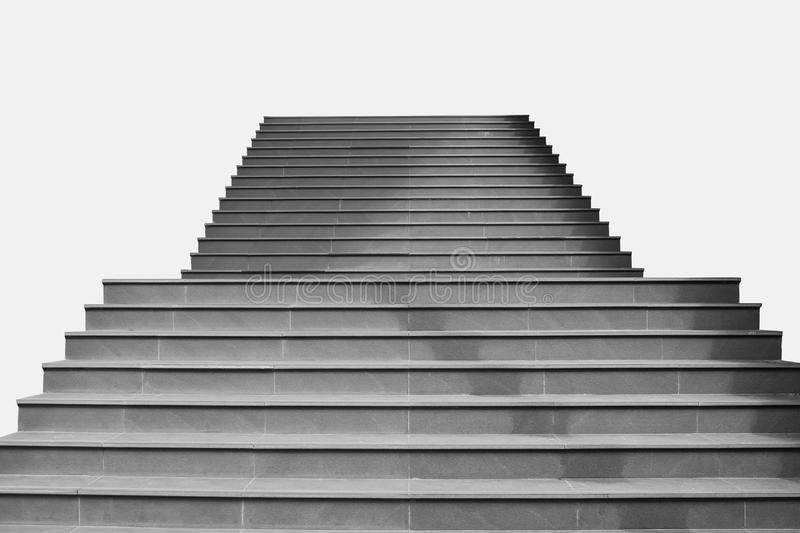 Front view architecture of concrete staircase isolated on grey background. Abstract image : Front view architecture of concrete staircase isolated on grey royalty free stock photo