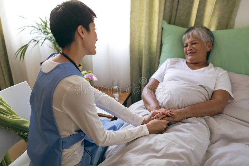 Female nurse taking care of senior female patient at retirement home. Front view of Asian female nurse taking care of senior mixed race  female patient at stock image